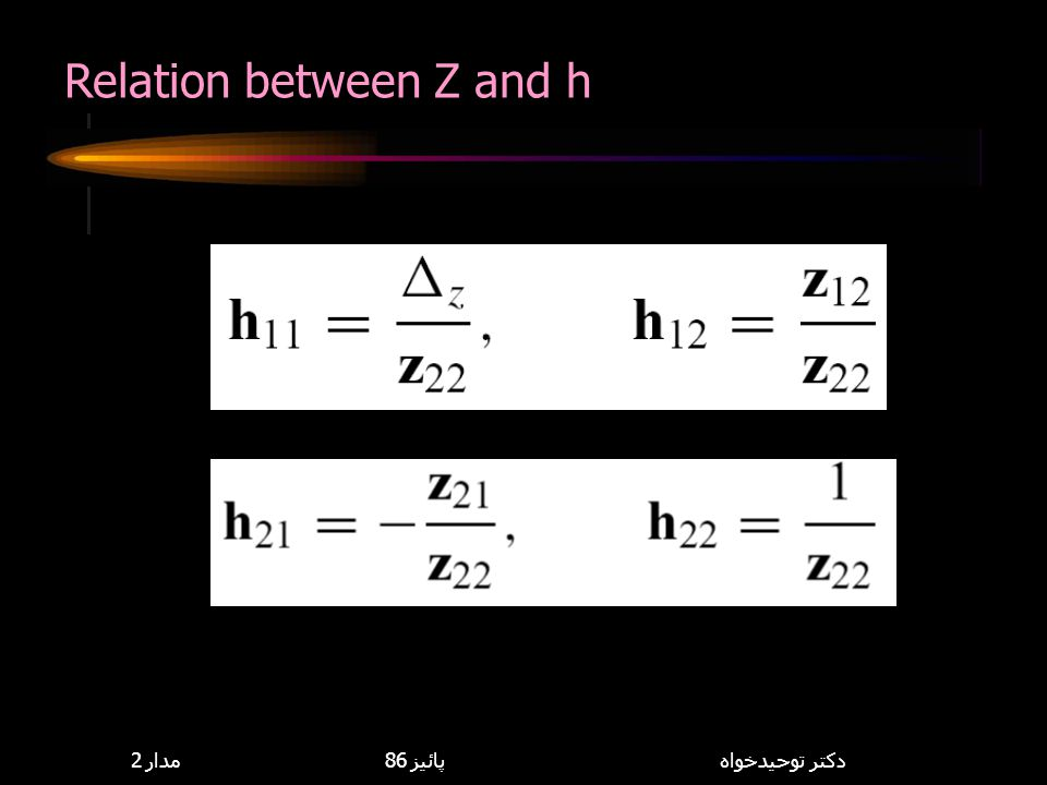 Relation between Z and h