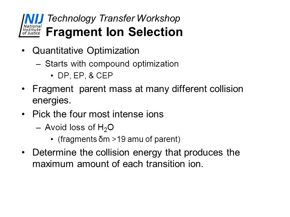 Fragment Ion Selection