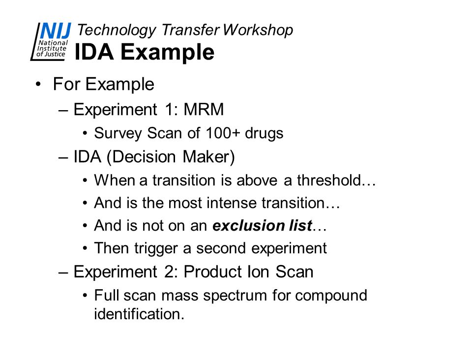IDA Example For Example Experiment 1: MRM IDA (Decision Maker)