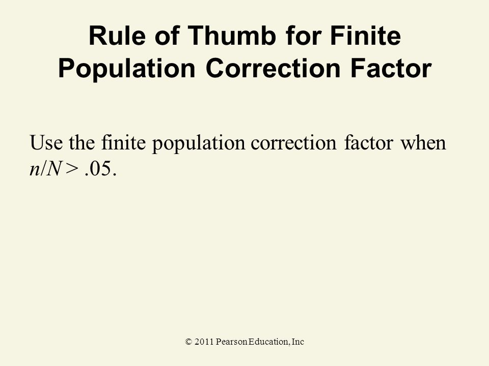 Rule of Thumb for Finite Population Correction Factor