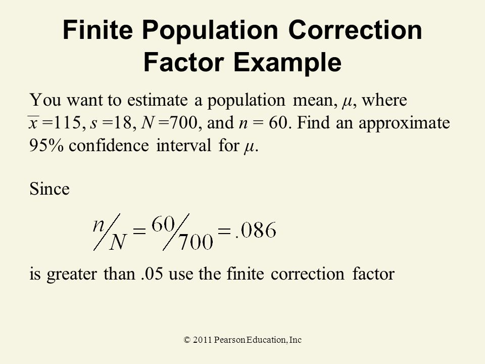 Finite Population Correction Factor Example