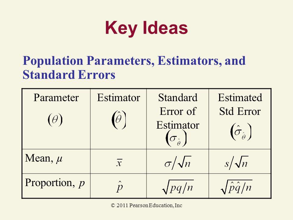 Key Ideas Population Parameters, Estimators, and Standard Errors