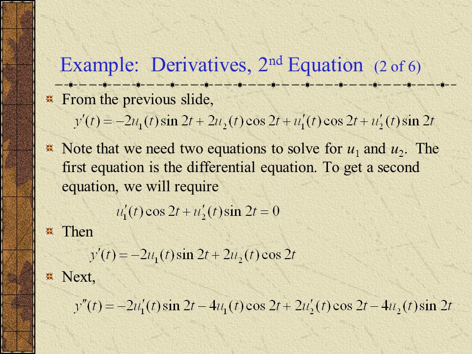 Example: Derivatives, 2nd Equation (2 of 6)