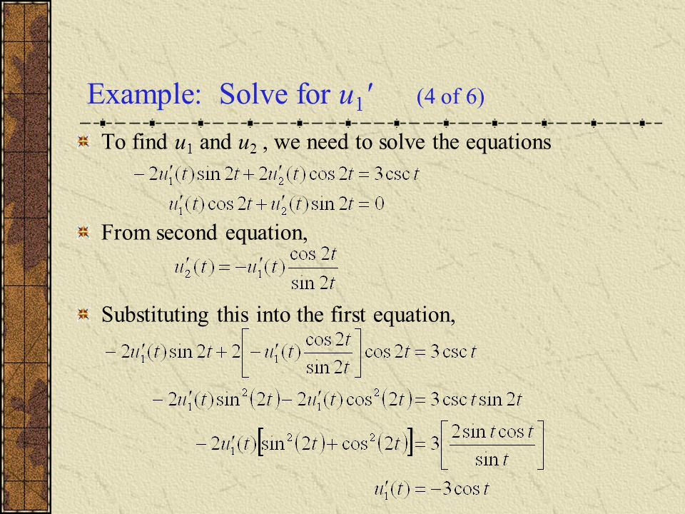 Example: Solve for u1 (4 of 6)