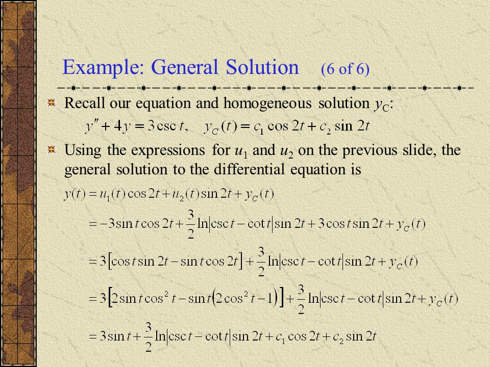 Example: General Solution (6 of 6)