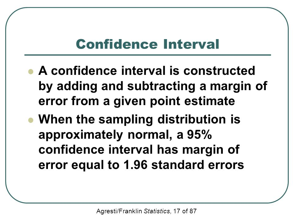 Confidence Interval A confidence interval is constructed by adding and subtracting a margin of error from a given point estimate.