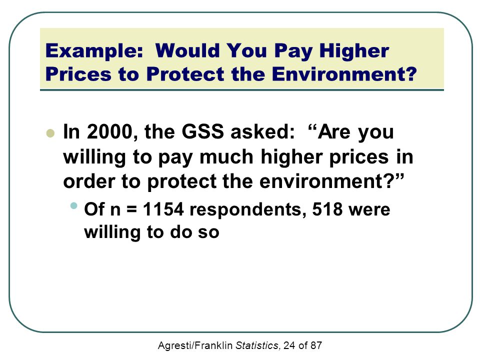 Example: Would You Pay Higher Prices to Protect the Environment