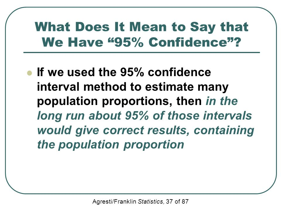 What Does It Mean to Say that We Have 95% Confidence