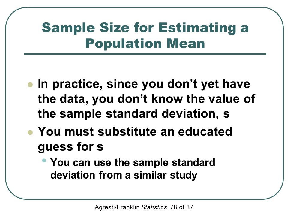 Sample Size for Estimating a Population Mean