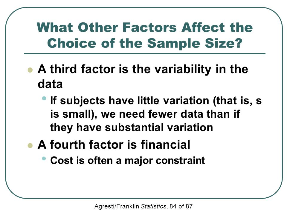 What Other Factors Affect the Choice of the Sample Size