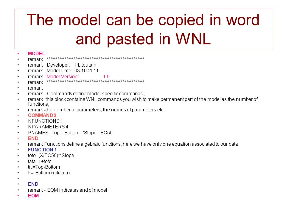 The model can be copied in word and pasted in WNL