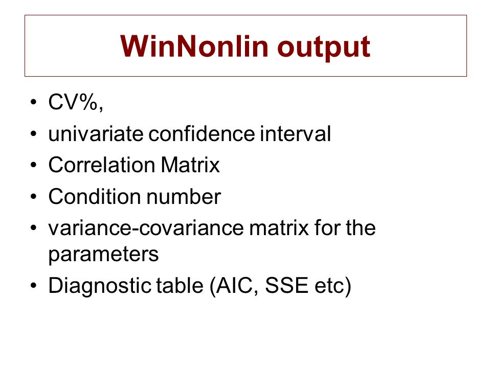 WinNonlin output CV%, univariate confidence interval