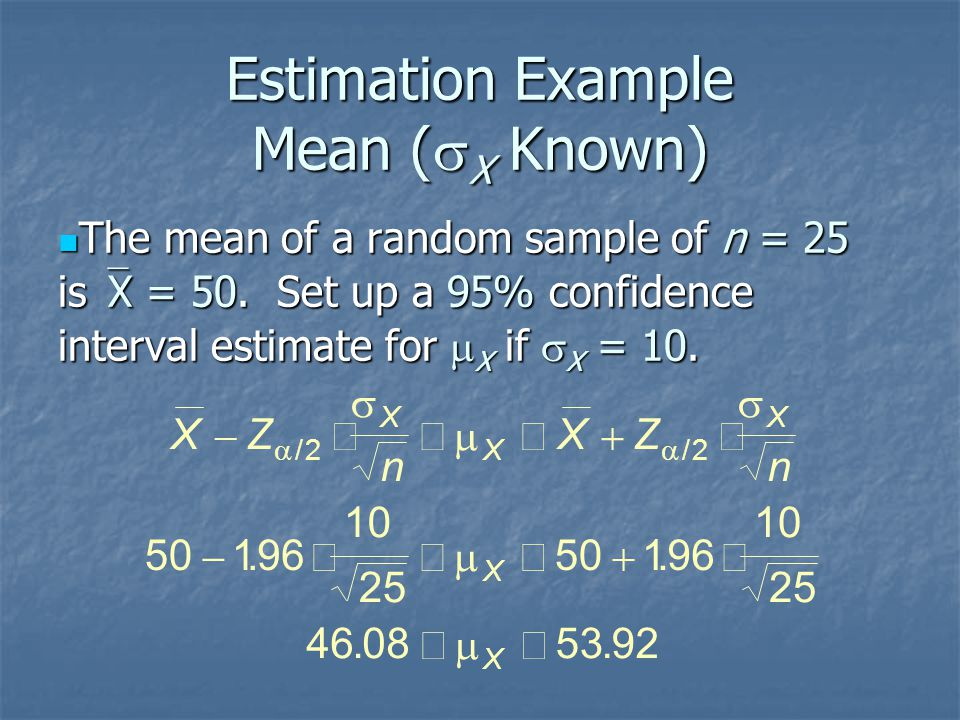 Estimation Example Mean (sX Known)