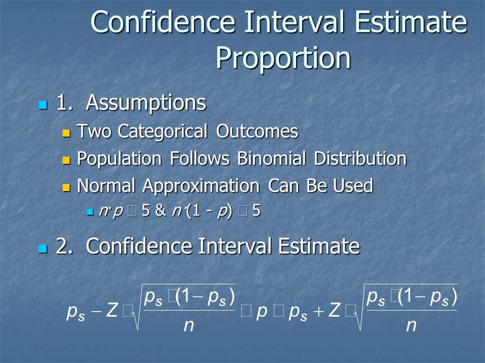 Confidence Interval Estimate Proportion