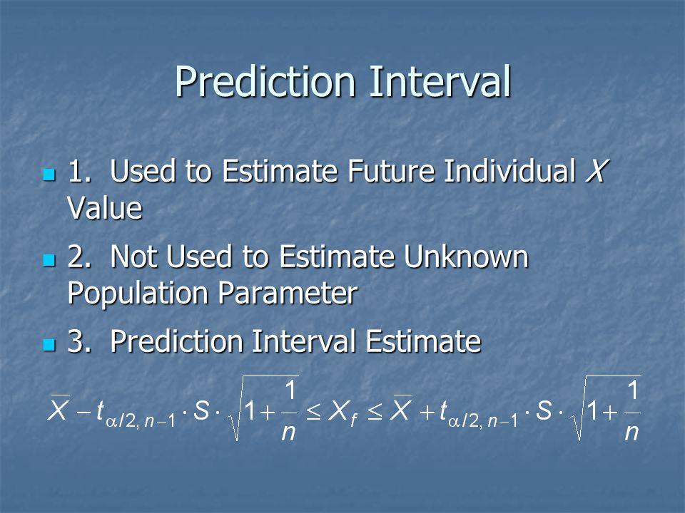 Prediction Interval 1. Used to Estimate Future Individual X Value