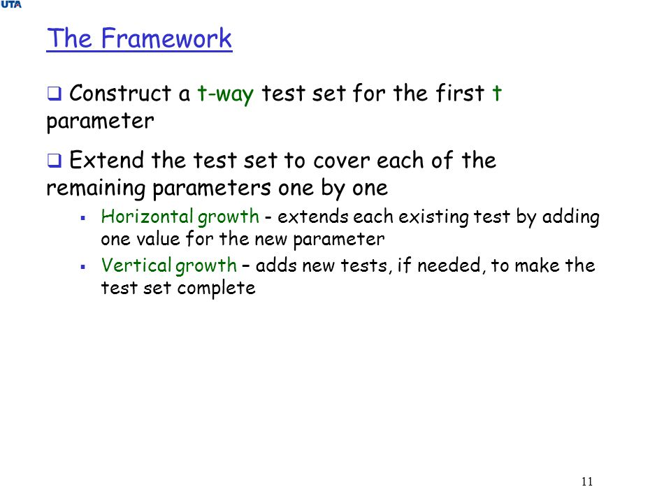 The Framework Construct a t-way test set for the first t parameter