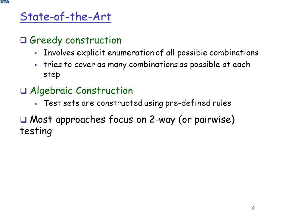 State-of-the-Art Greedy construction Algebraic Construction