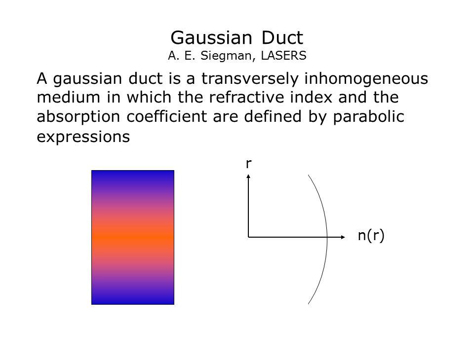 Gaussian Duct A. E. Siegman, LASERS