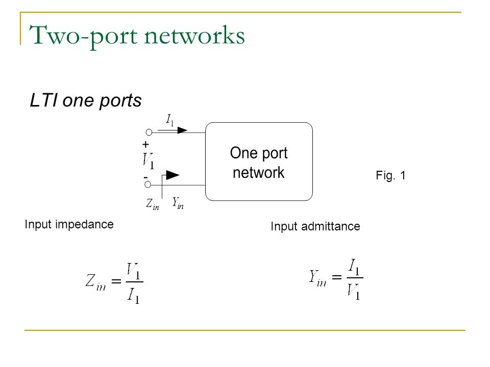 Two-port networks LTI one ports Fig. 1 Input impedance