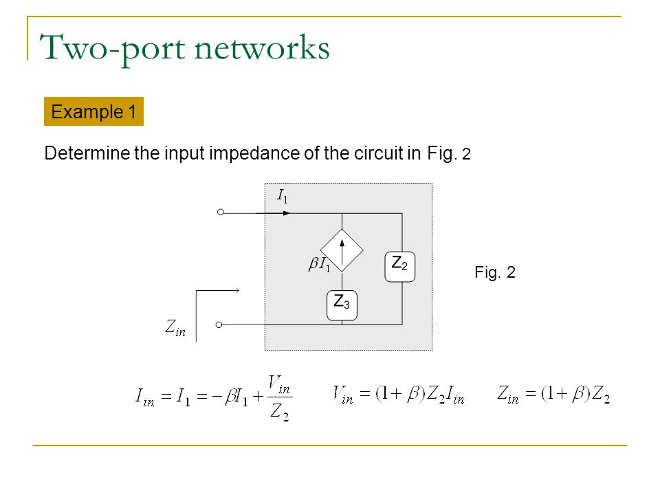Two-port networks Example 1