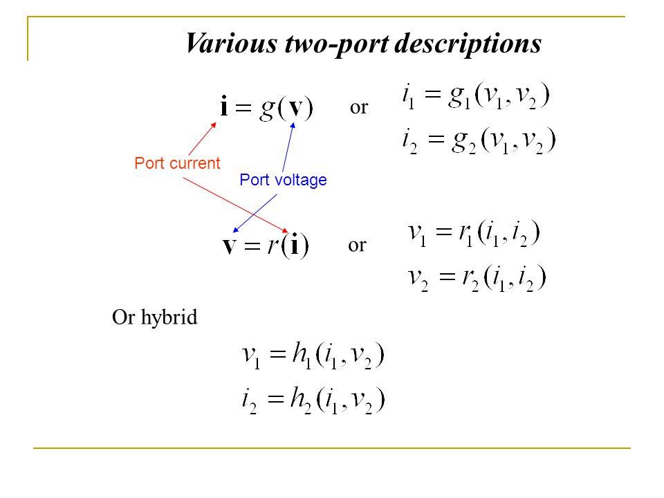 Various two-port descriptions
