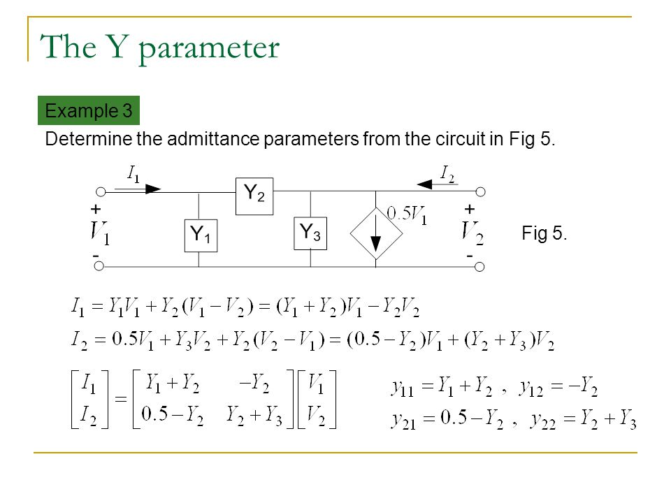 The Y parameter Example 3