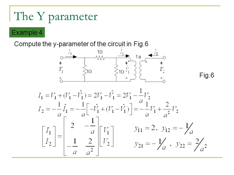 The Y parameter Example 4
