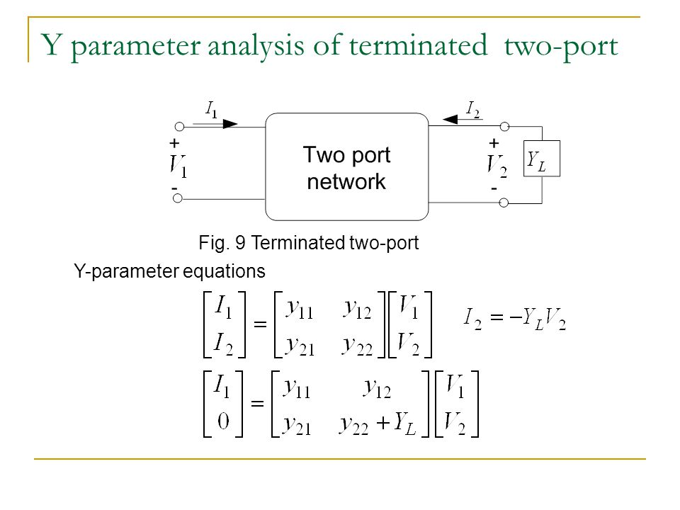 Y parameter analysis of terminated two-port