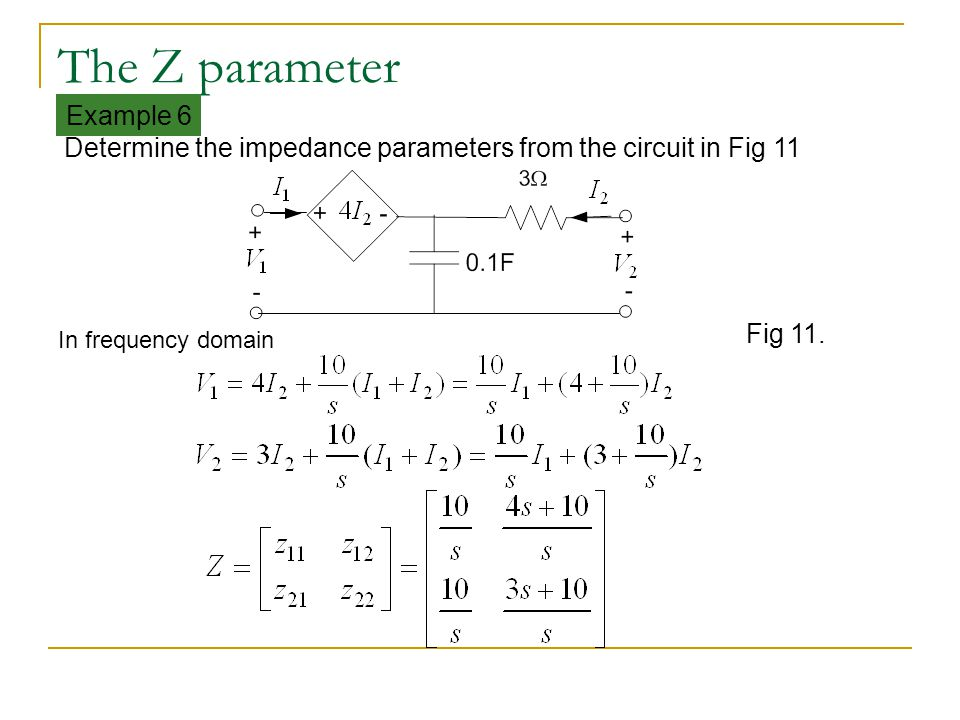 The Z parameter Example 6