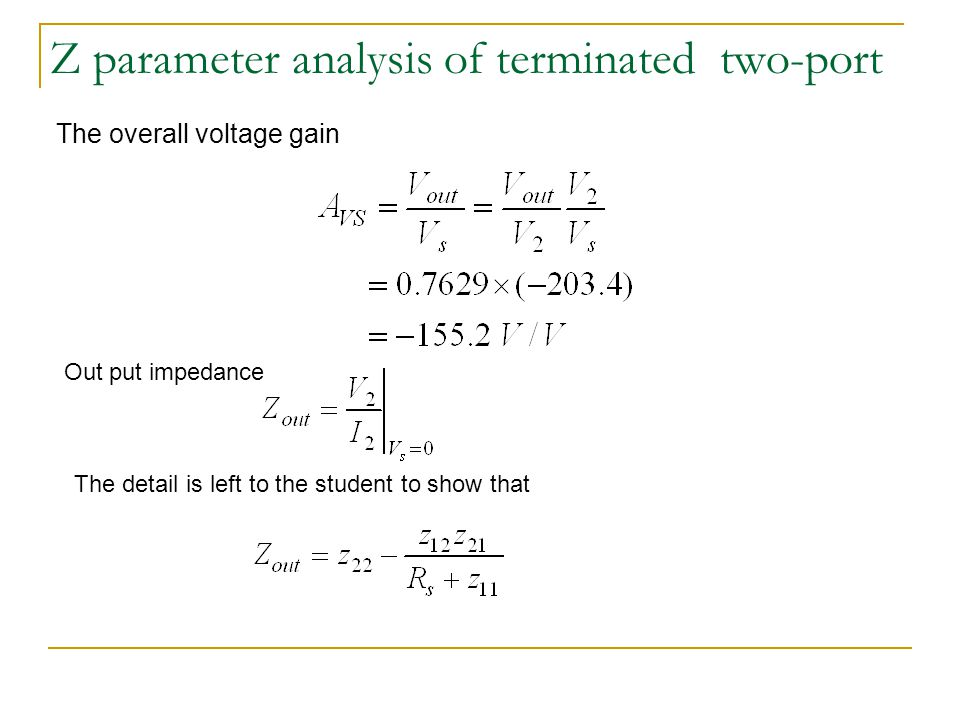 Z parameter analysis of terminated two-port