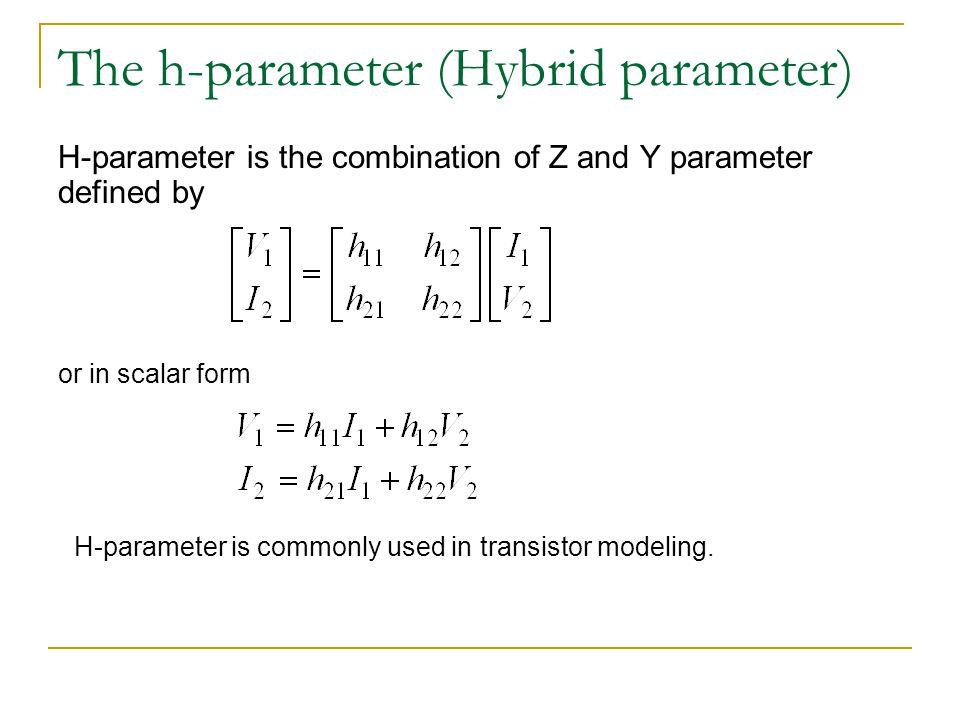 The h-parameter (Hybrid parameter)
