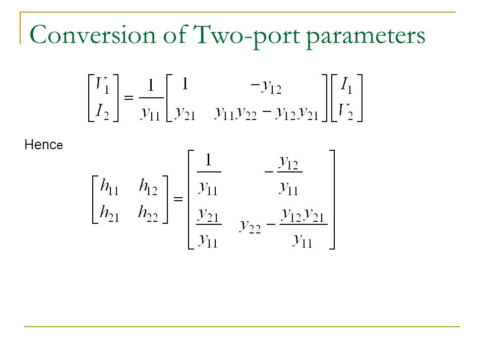 Conversion of Two-port parameters