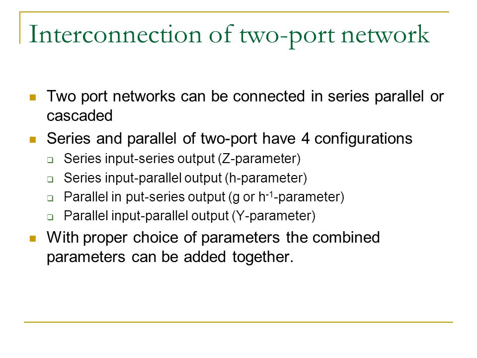 Interconnection of two-port network