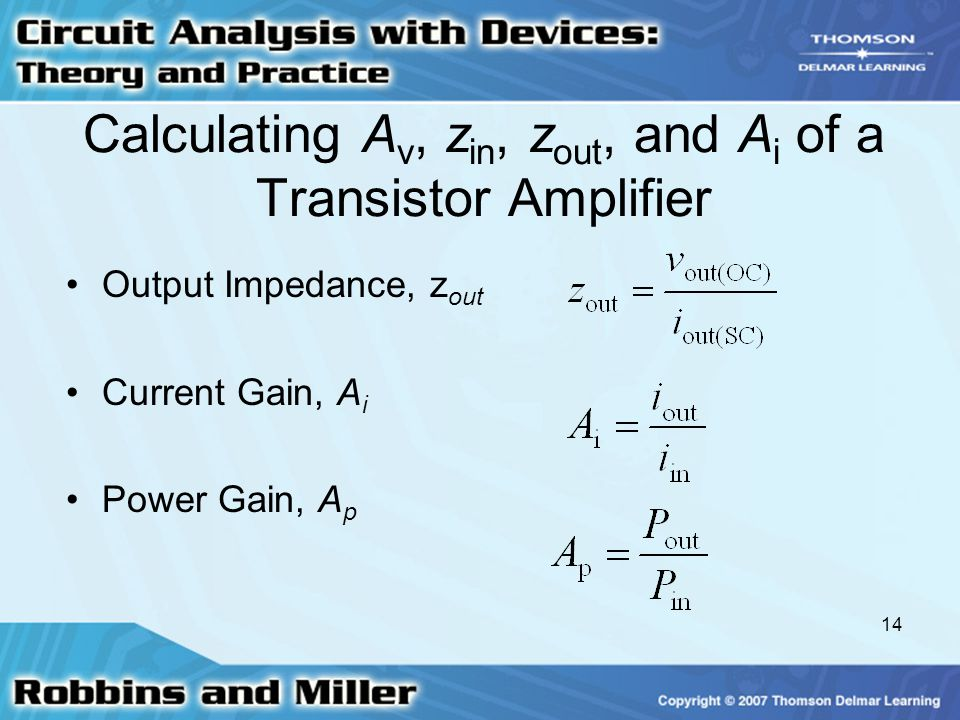 Calculating Av, zin, zout, and Ai of a Transistor Amplifier