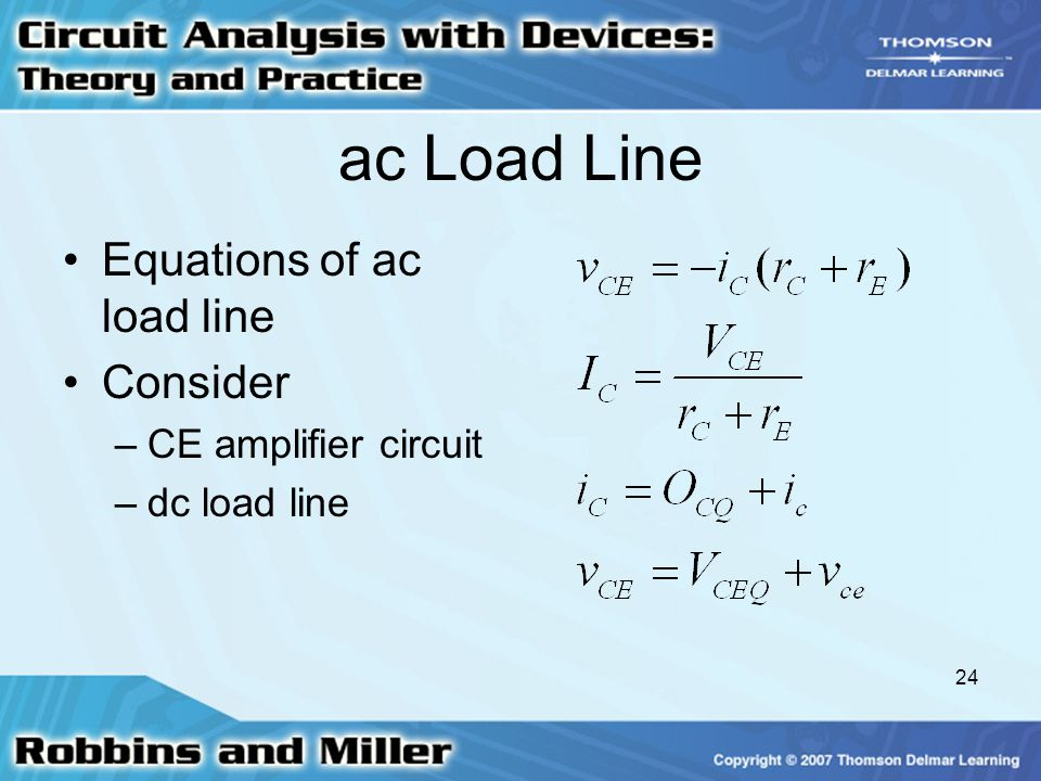 ac Load Line Equations of ac load line Consider CE amplifier circuit