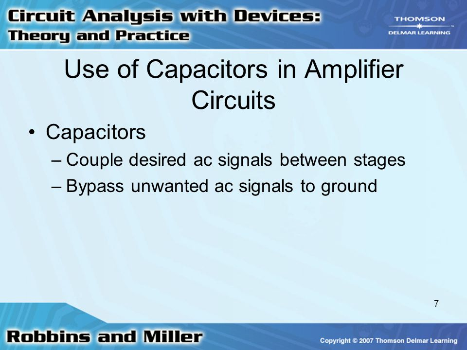 Use of Capacitors in Amplifier Circuits