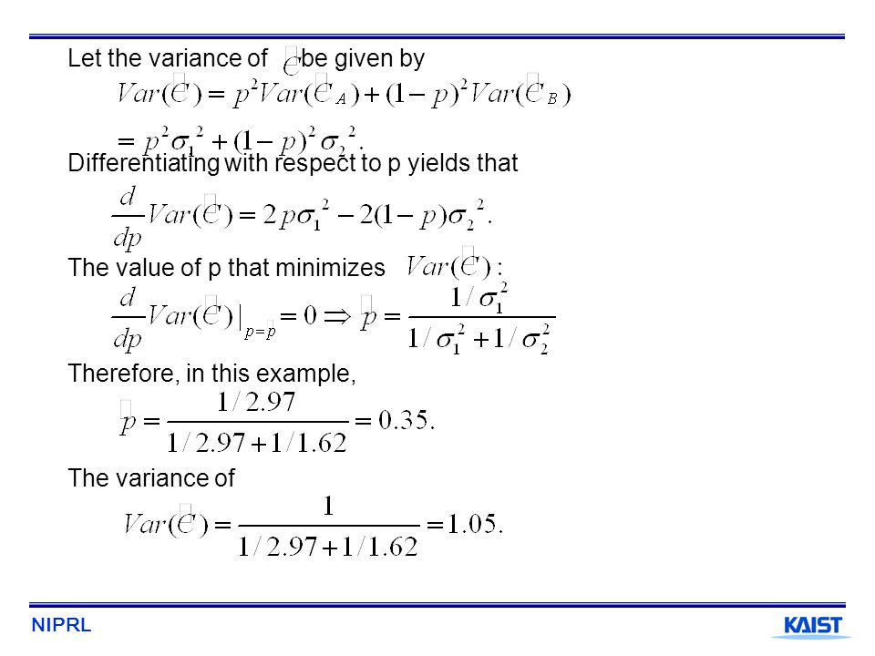 Let the variance of be given by