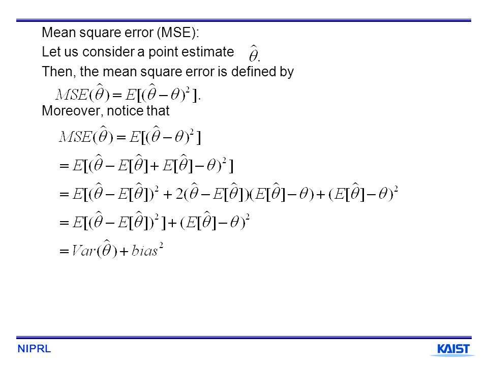 Mean square error (MSE):