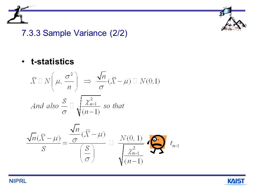 7.3.3 Sample Variance (2/2) t-statistics