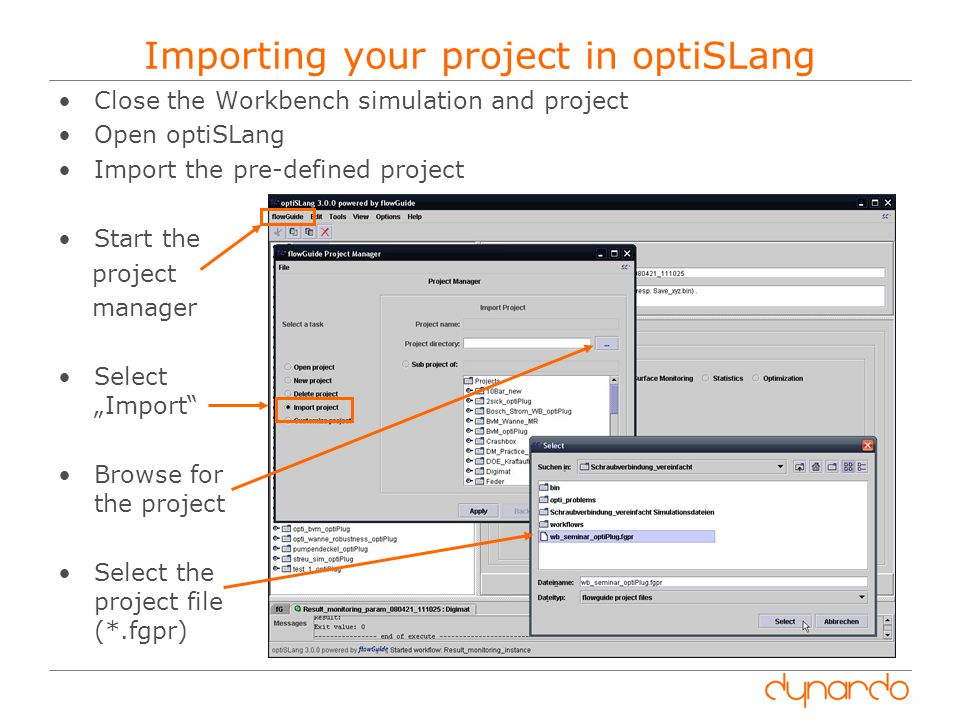 Importing your project in optiSLang