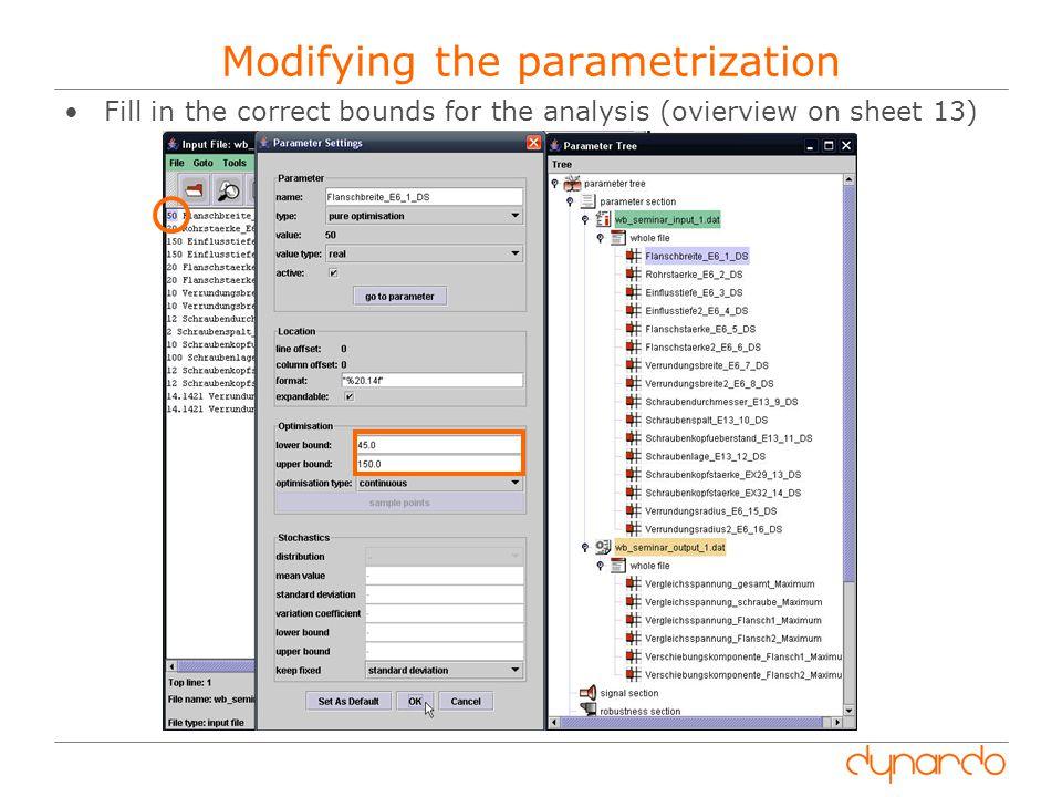 Modifying the parametrization