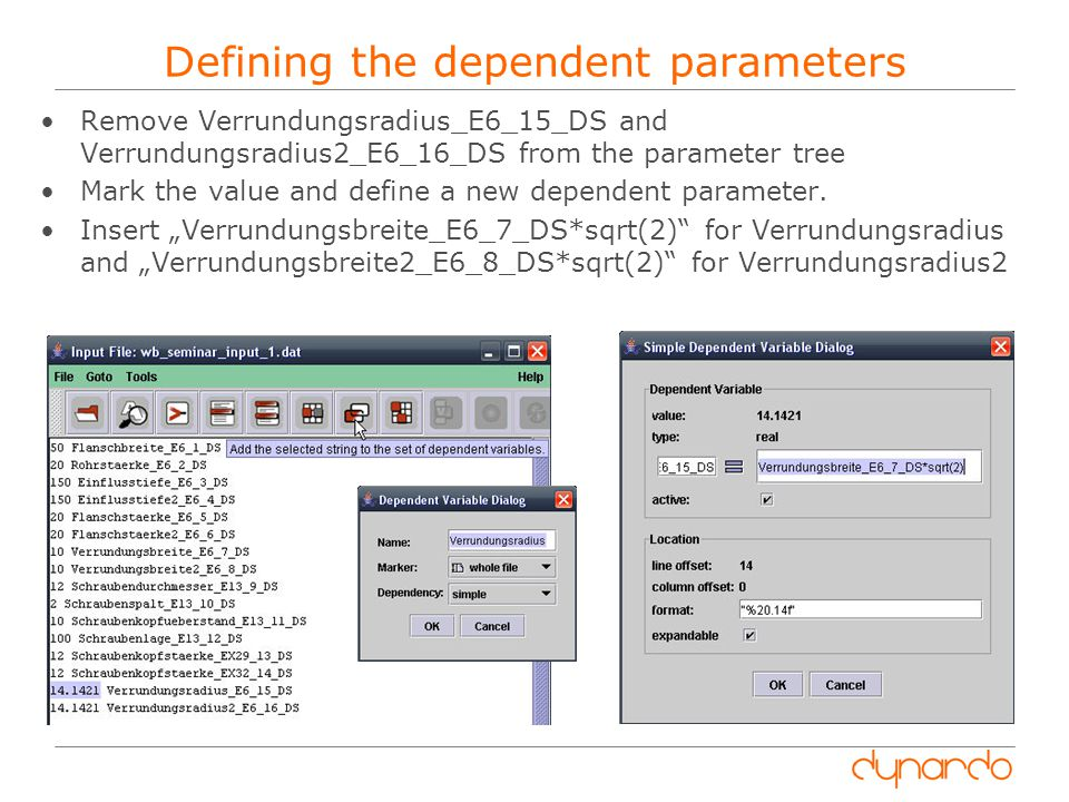Defining the dependent parameters