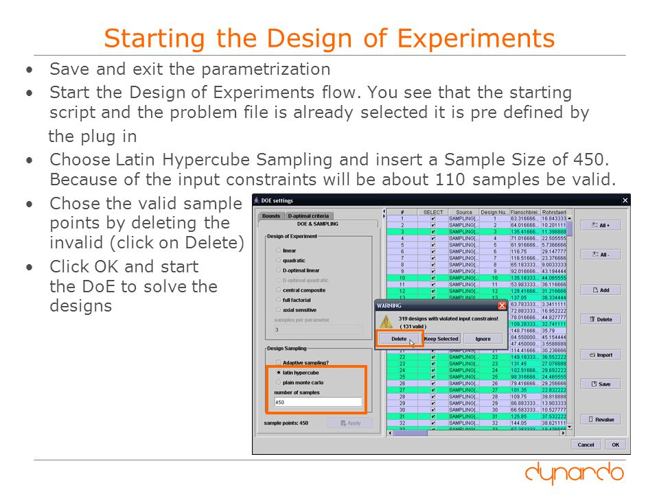 Starting the Design of Experiments
