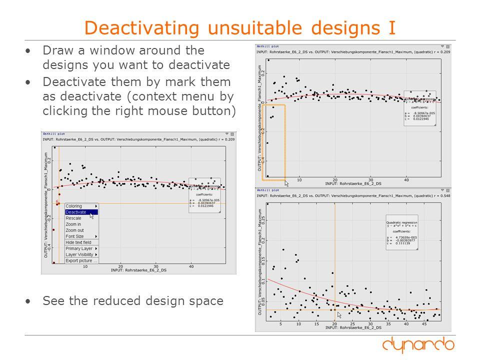 Deactivating unsuitable designs I