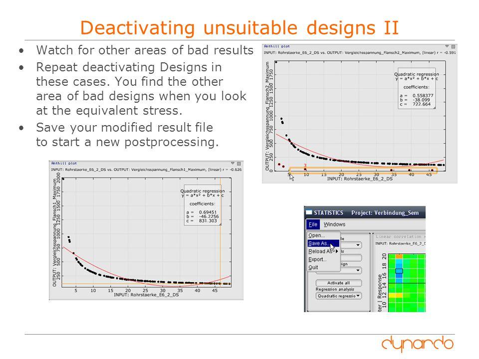 Deactivating unsuitable designs II