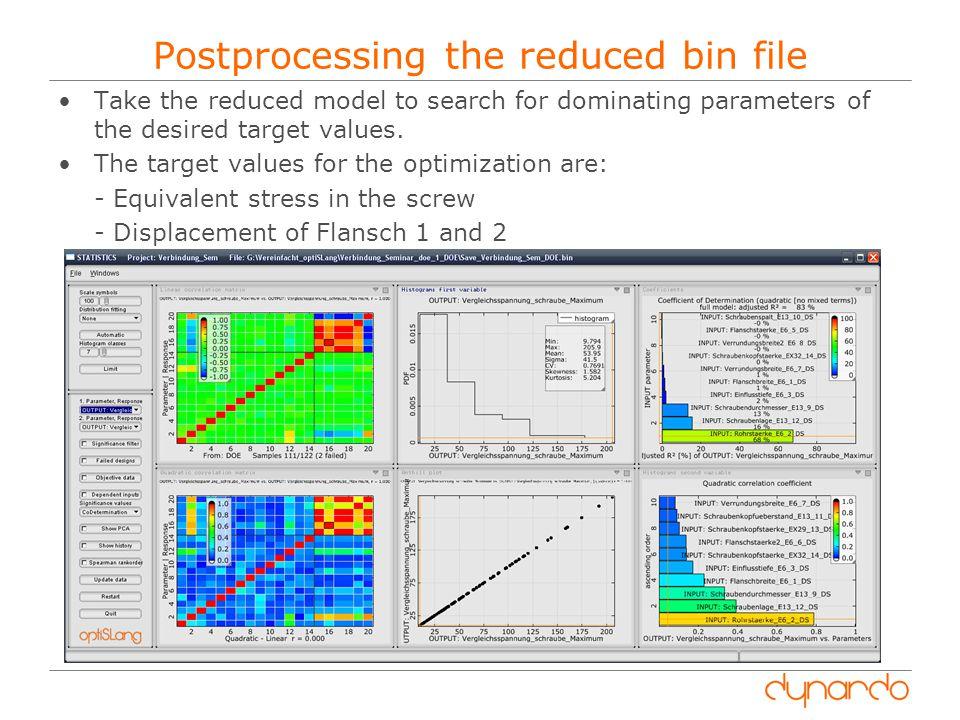 Postprocessing the reduced bin file