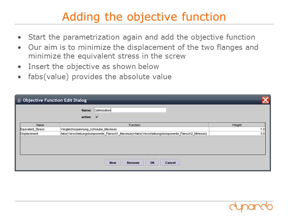 Adding the objective function
