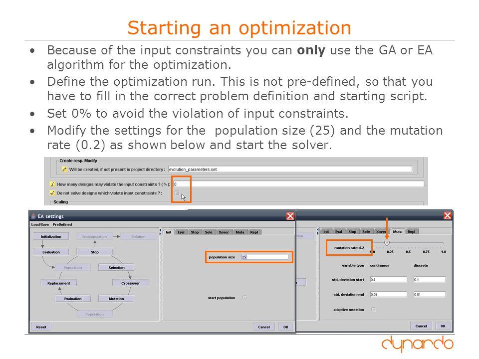 Starting an optimization