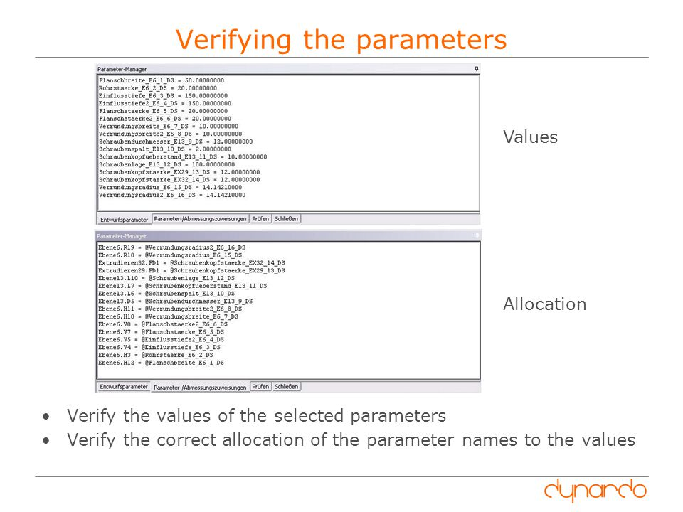 Verifying the parameters