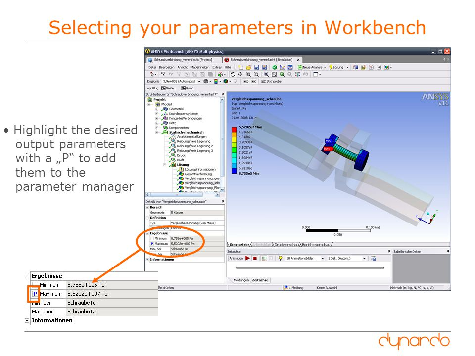 Selecting your parameters in Workbench